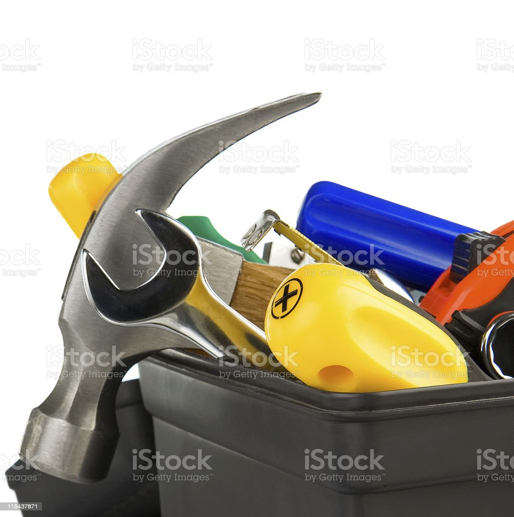 set of tools in black toolbox royalty-free stock photo