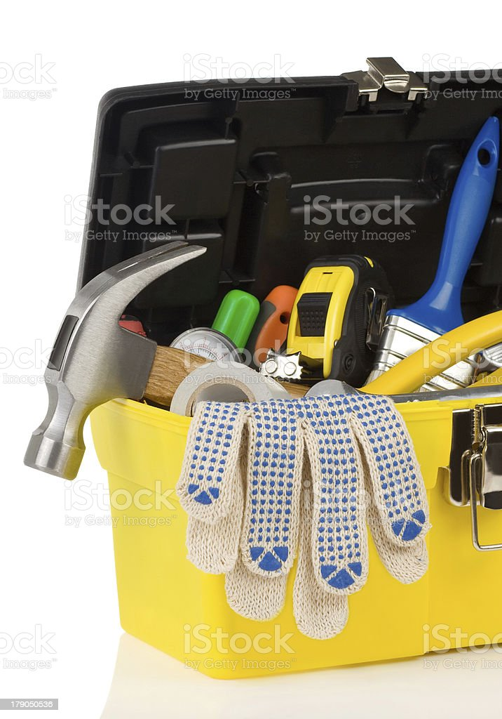 set of tools in toolbox royalty-free stock photo