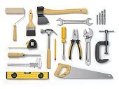 Set of tools isolated on white background. Hammer, screwdriver, brush, spanner pliers, measure tape.