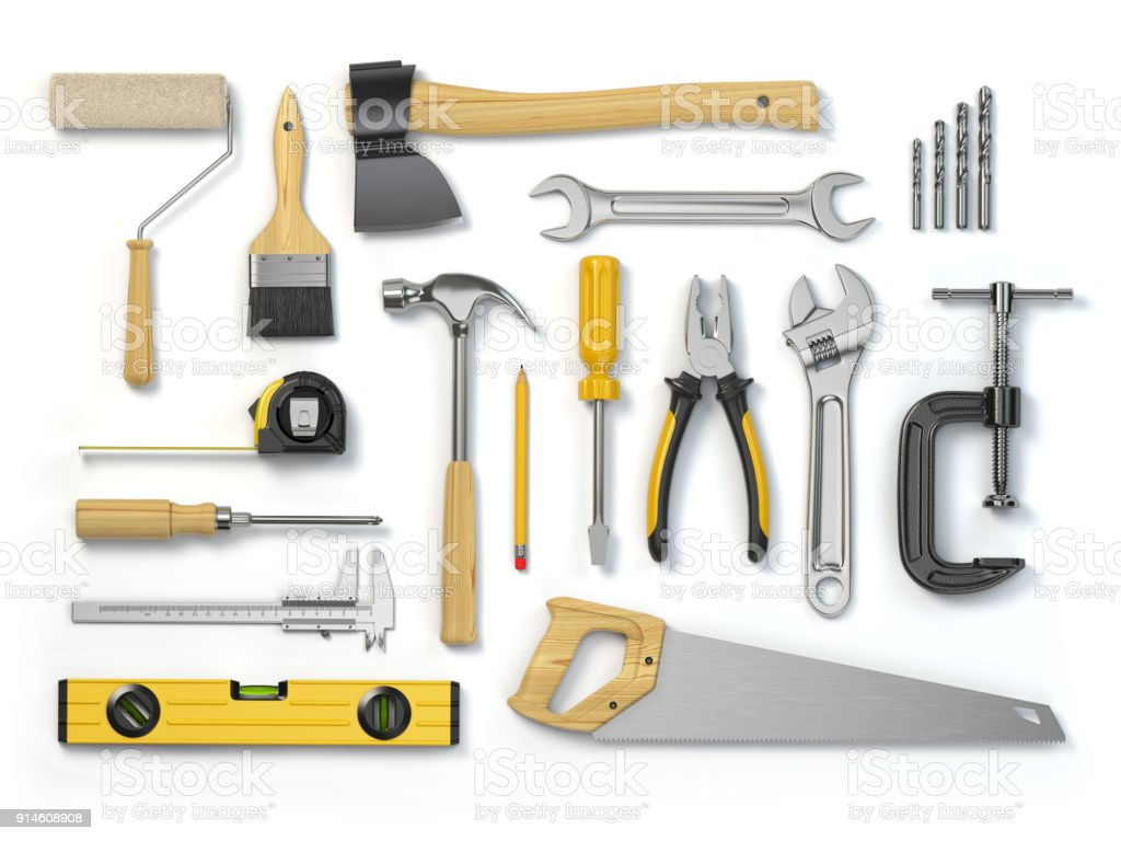 Set of tools isolated on white background. Hammer, screwdriver, brush, spanner pliers, measure tape. stock photo