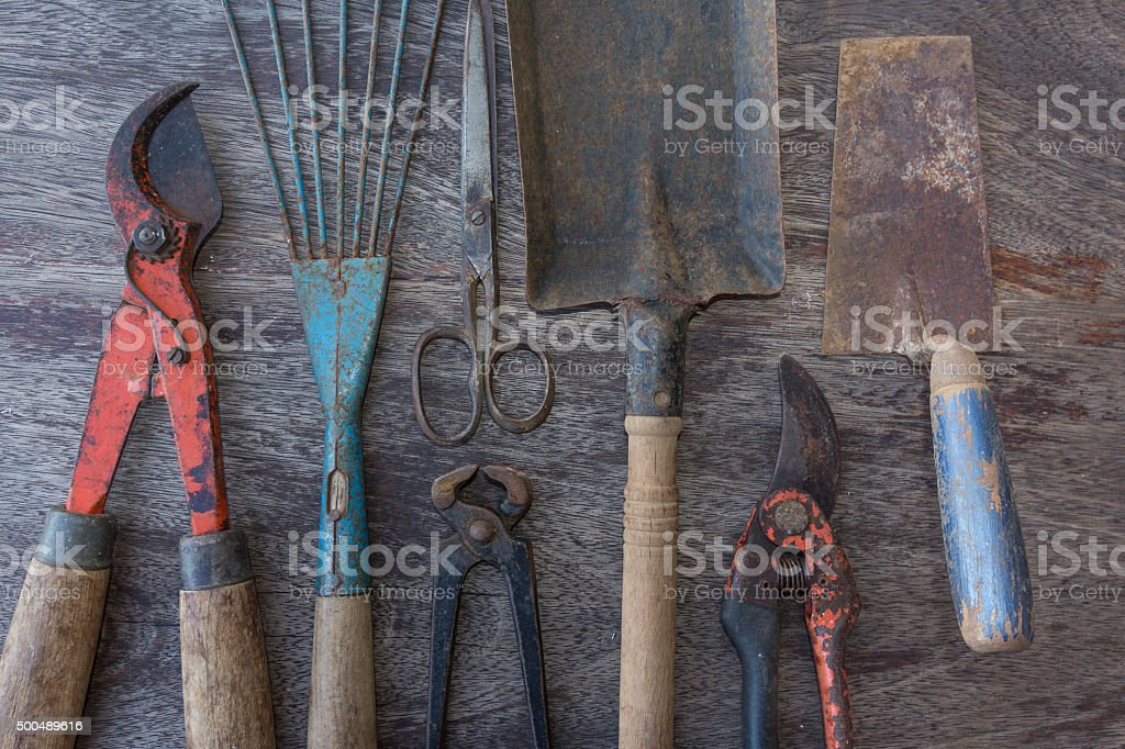 Set of tools - old tools closeup stock photo