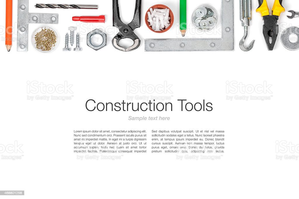 set of tools on white background stock photo