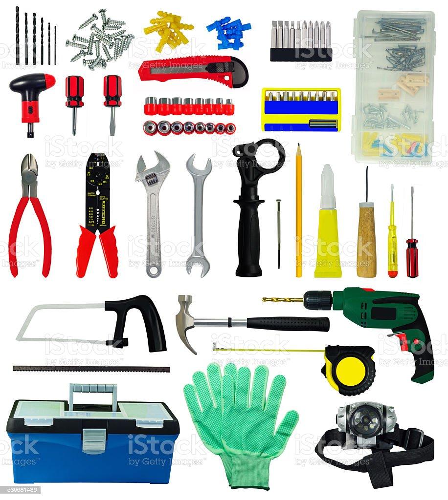 Set of tools stock photo