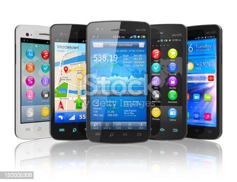 istock Set of touchscreen smartphones 152005308