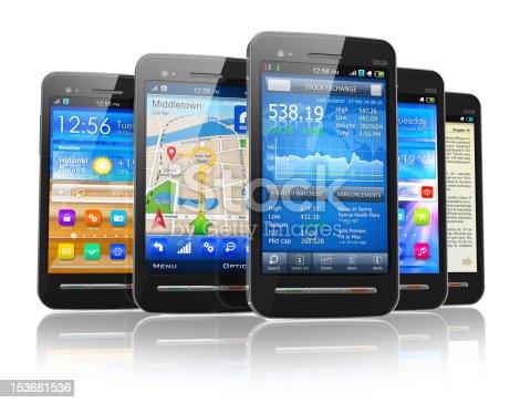 istock Set of touchscreen smartphones 153681536