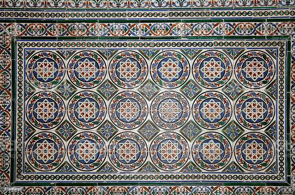 Set of traditional Islamic (Moorish) ceramic tiles, in Seville, Spain stock photo