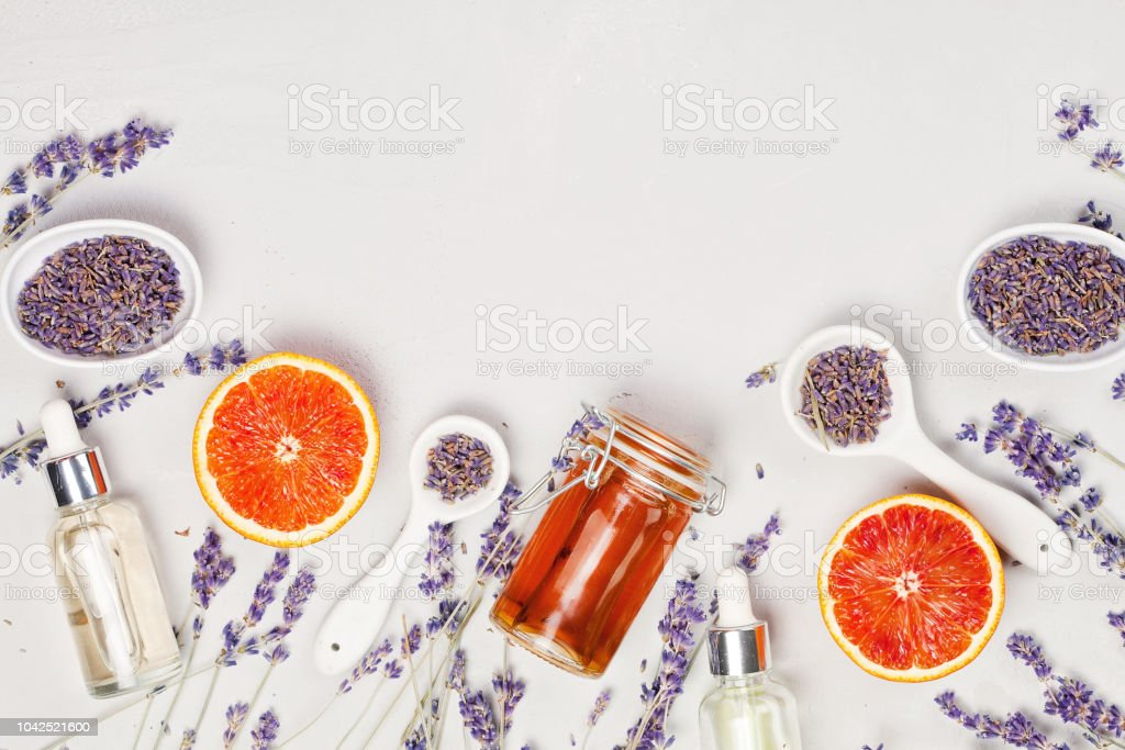 Set of traditional spa products. Natural face and body care stock photo
