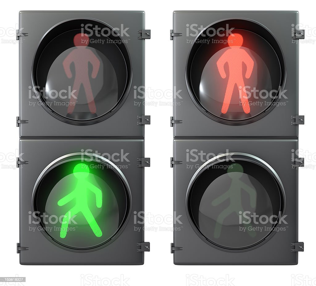 Set of traffic and pedestrian lights royalty-free stock photo