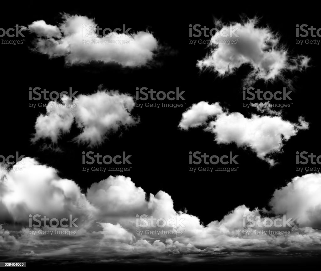 Set of transparent clouds stock photo