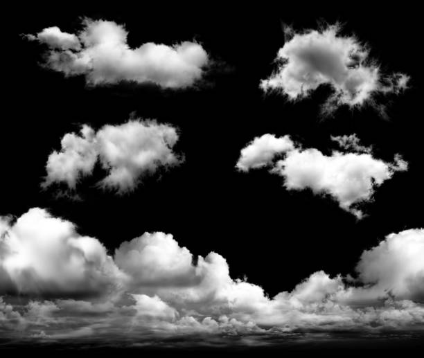set of transparent clouds - cloudscape stock photos and pictures