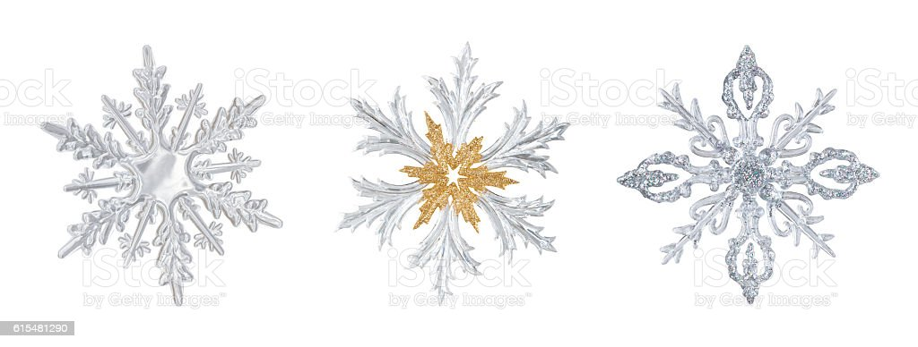 Set of transparent snowflakes. stock photo