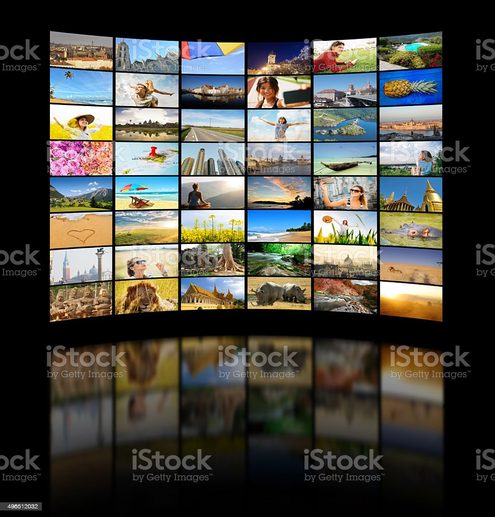 Set of travel, nature and lifestyle images in media concept stock photo