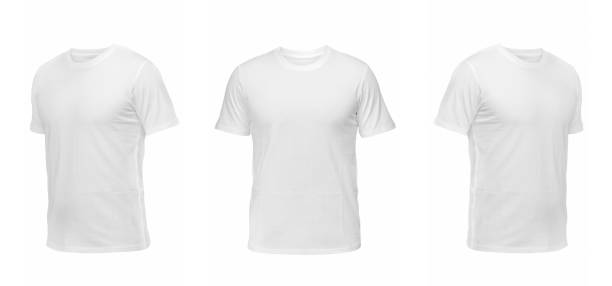 set of t-shirts isolated on white background - t shirt stock photos and pictures