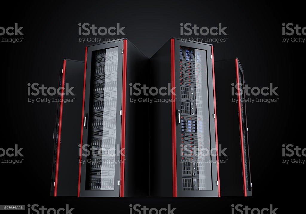 Set of turned off server racks isolated on black background stock photo