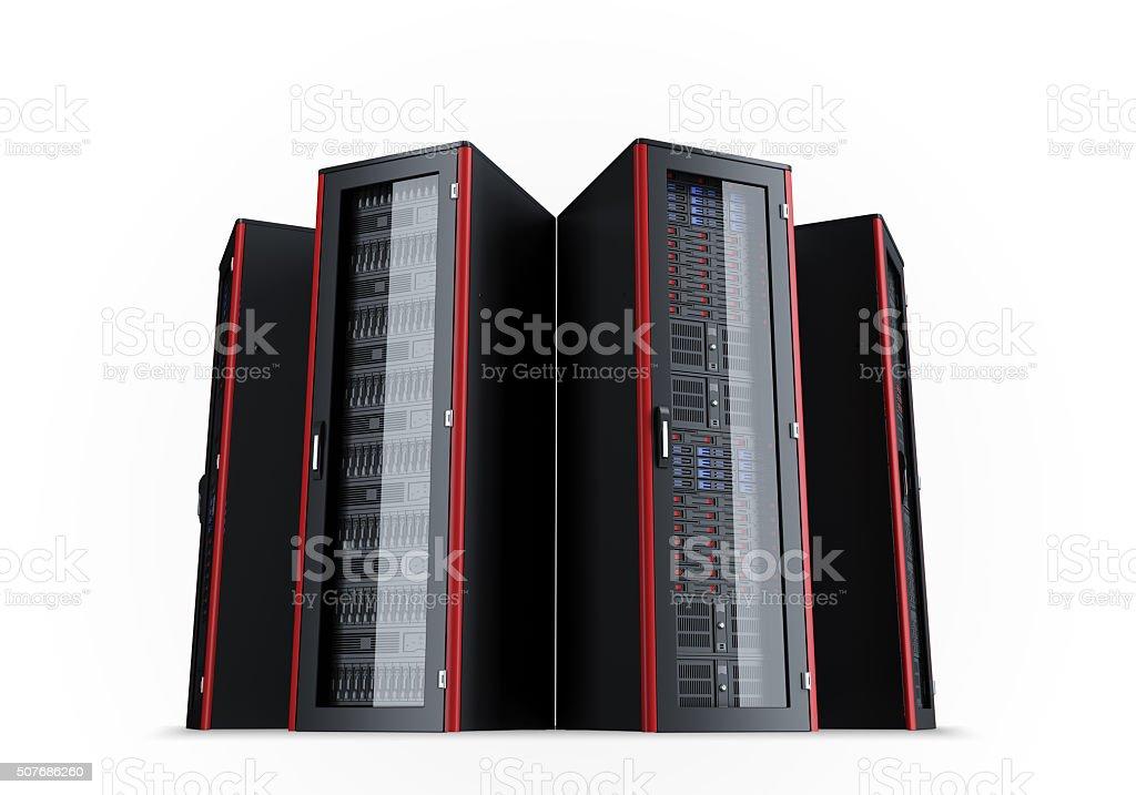 Set of turned off server racks isolated on white background stock photo
