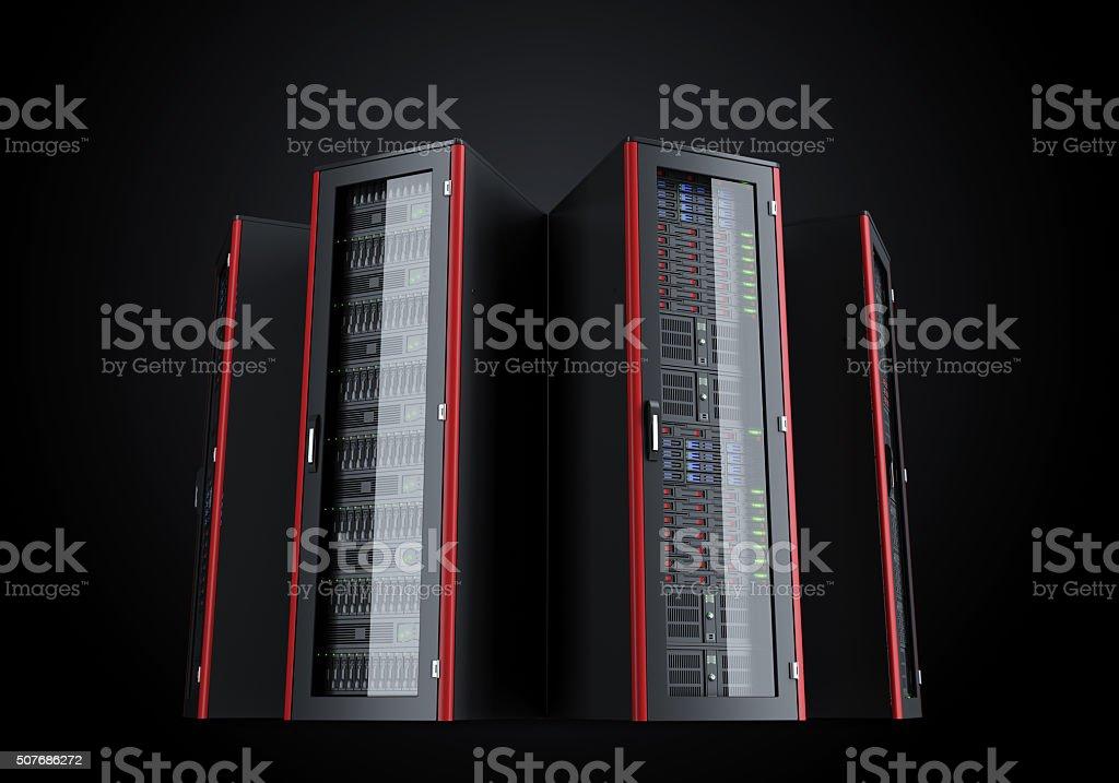 Set of turned on server racks isolated on black background stock photo