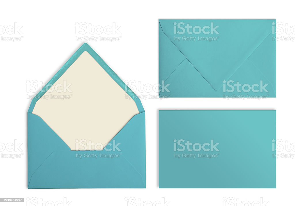 Set of turquoise envelopes, Mockup. Collection on white background. stock photo