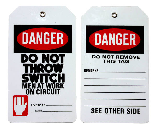 Set of two danger labels in black, red and white Lockout Tagout Tag, front and back. lockout stock pictures, royalty-free photos & images