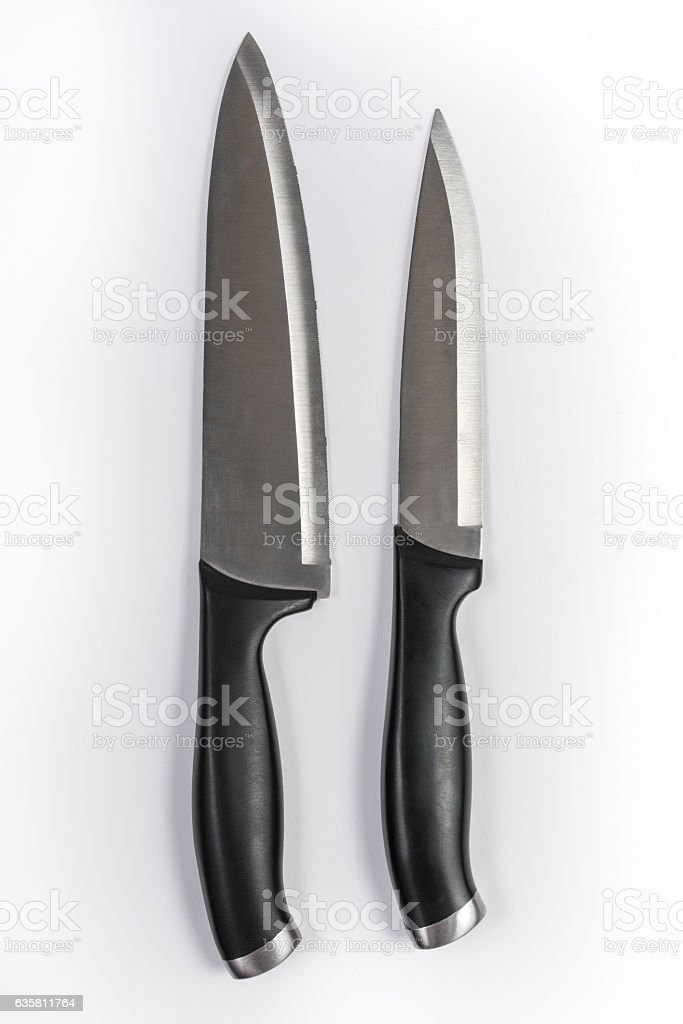 Set of Two Kitchen Knives Isolated on White Background – Foto