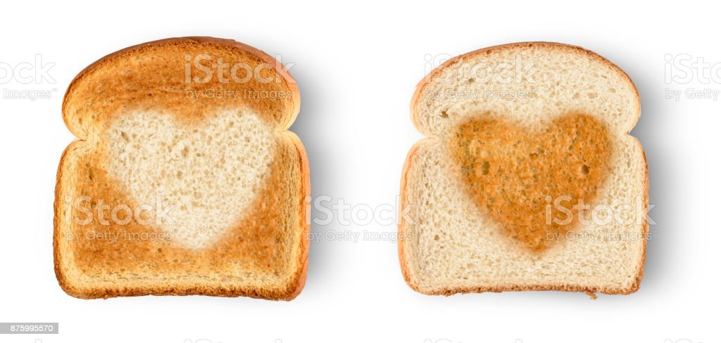 Set of two slices toast bread isolated on white stock photo