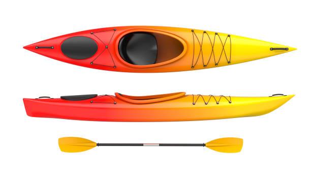 sistema de dos vistas kajak plástico amarillo-rojo fuego color con remo. 3d render, aislado en fondo blanco. - kayak fotografías e imágenes de stock