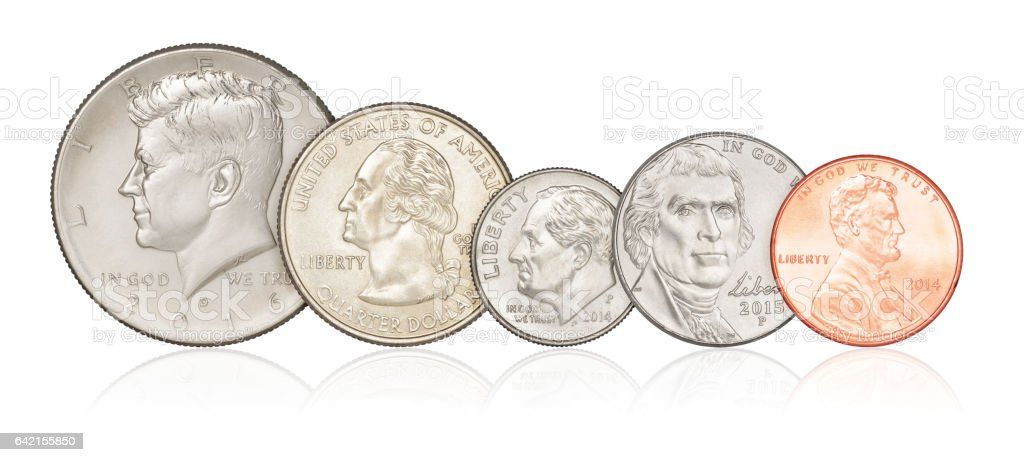 Set of US coins isolated stock photo