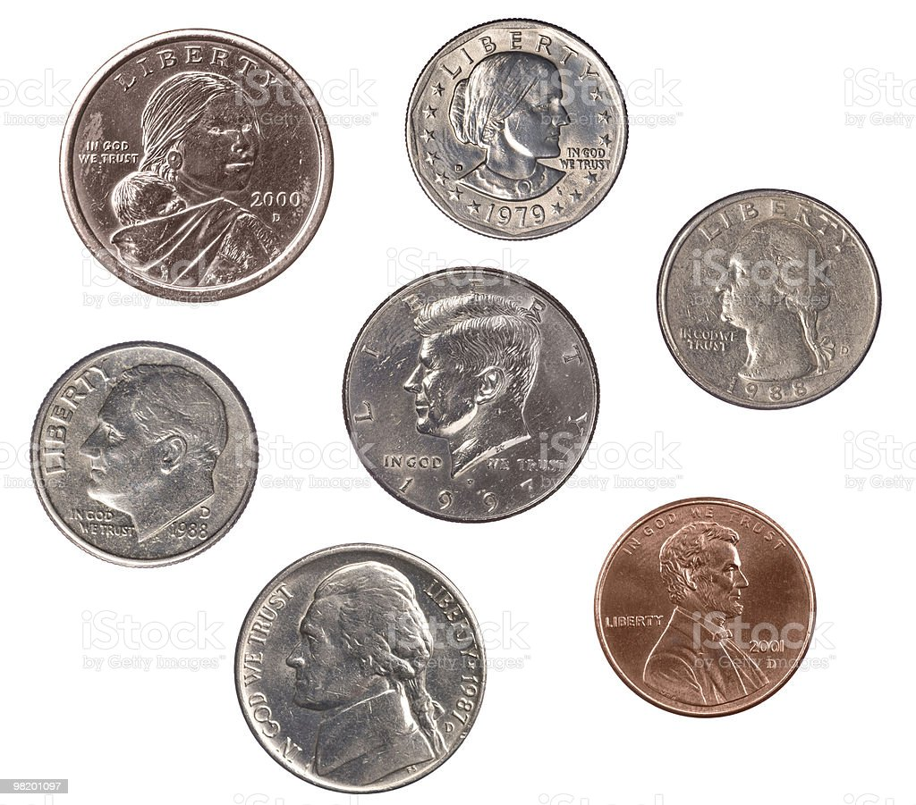 Set of U.S. Coins royalty-free stock photo
