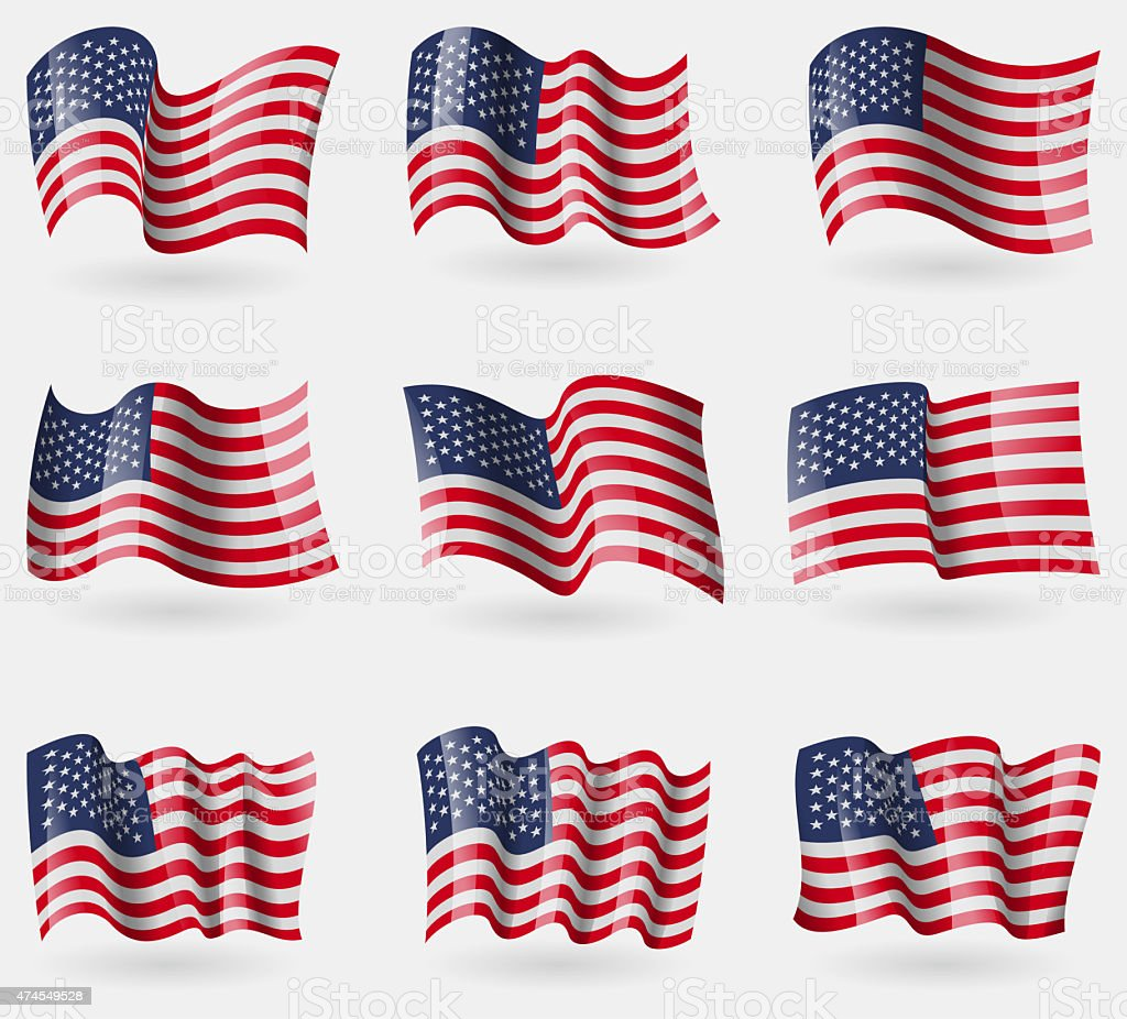 Set of USA flags in the air. stock photo