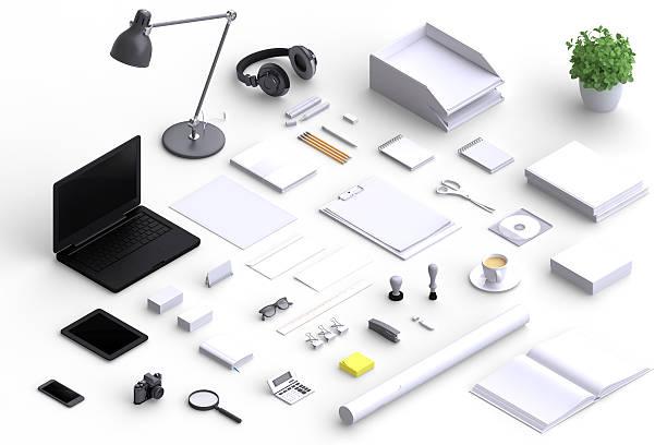 Conjunto de oficina varios objetos en blanco. - foto de stock