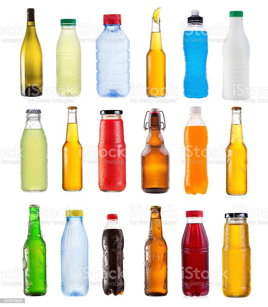set of various bottles stock photo
