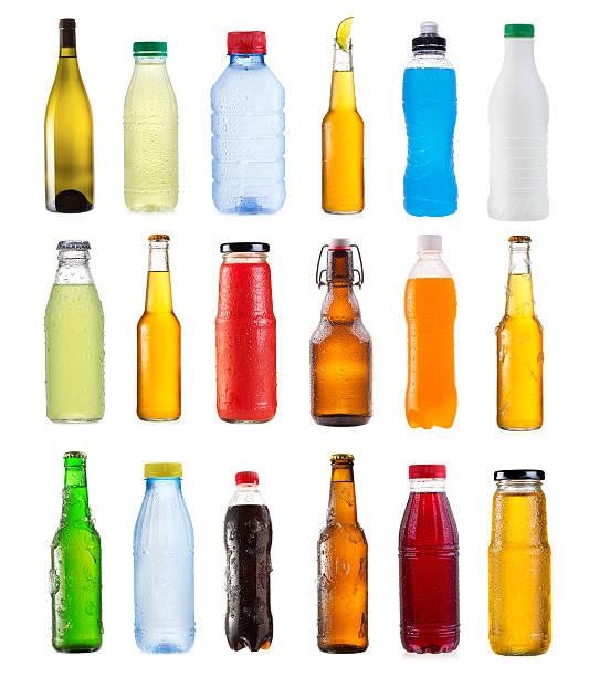 satz von verschiedenen flaschen - alkoholfreies getränk stock-fotos und bilder