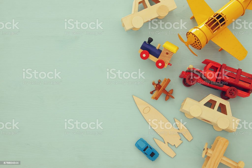 Set of various cars and airplanes toys. Top view image. royalty-free stock photo