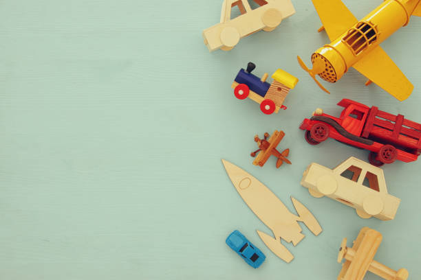 set of various cars and airplanes toys. top view image. - toy stock pictures, royalty-free photos & images