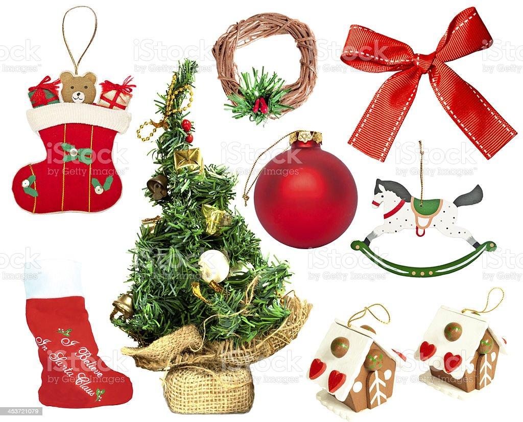 Set of various Christmas ornaments royalty-free stock photo