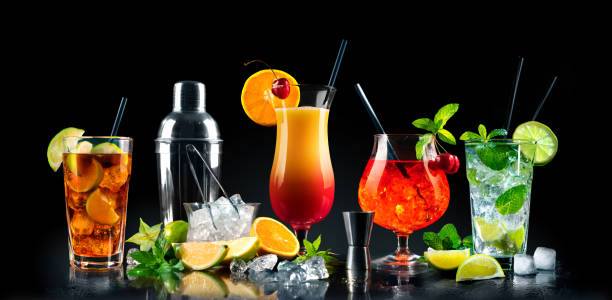 Set of various cocktails with on black background stock photo
