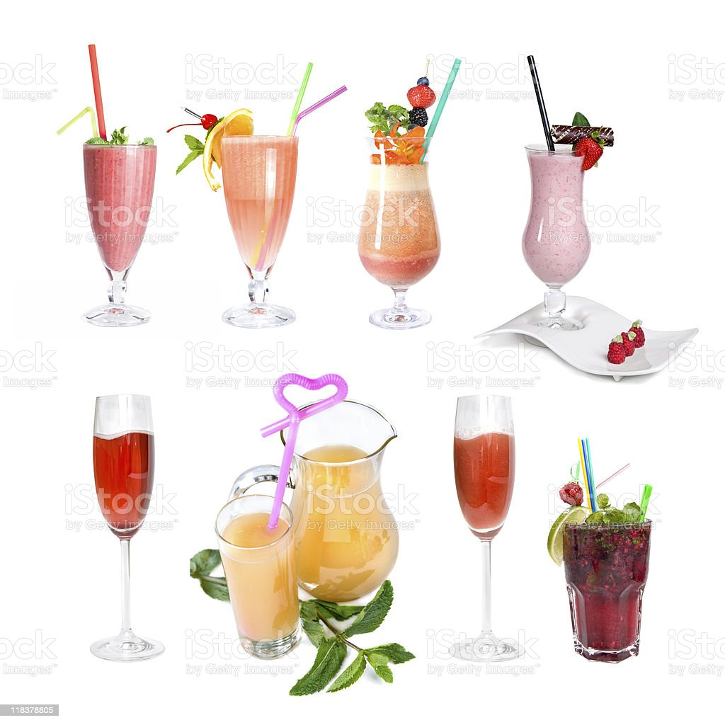 set of various cold cocktails royalty-free stock photo