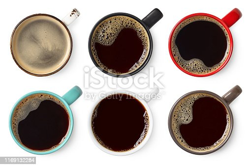 Set of various colorful cups of black coffee isolated on white background, top view