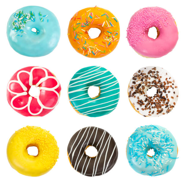 Set of various colorful donuts stock photo