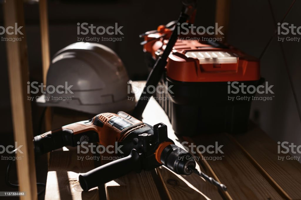 Set of various different tools in sunlight. Plastic tools kit,...