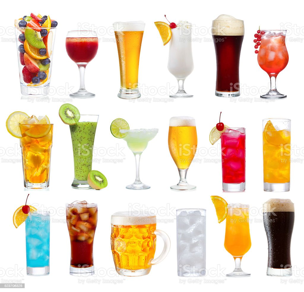 Set of various drinks, cocktails and beer stock photo