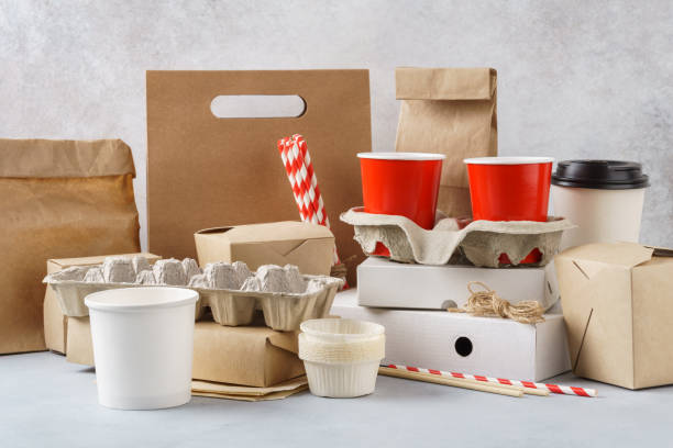 set of various eco friendly packaging, containers and tableware. - packaging foto e immagini stock