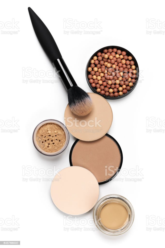 Set of various face powder and brush stock photo