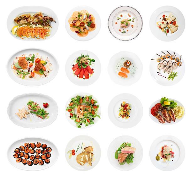 satz von verschiedenen fisch und meeresfrüchte, vorspeisen, isoliert - carpaccio salat stock-fotos und bilder