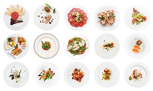 satz von verschiedenen fisch appetithäppchen, isoliert auf weiss - carpaccio salat stock-fotos und bilder
