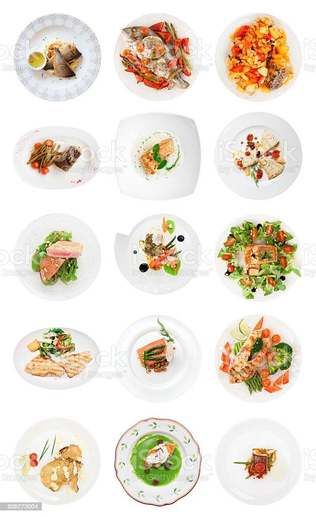 Conjunto de diferentes pratos de peixe Isolado no branco - foto de acervo