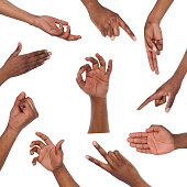 istock Set of various hand gestures isolated on white 905843774
