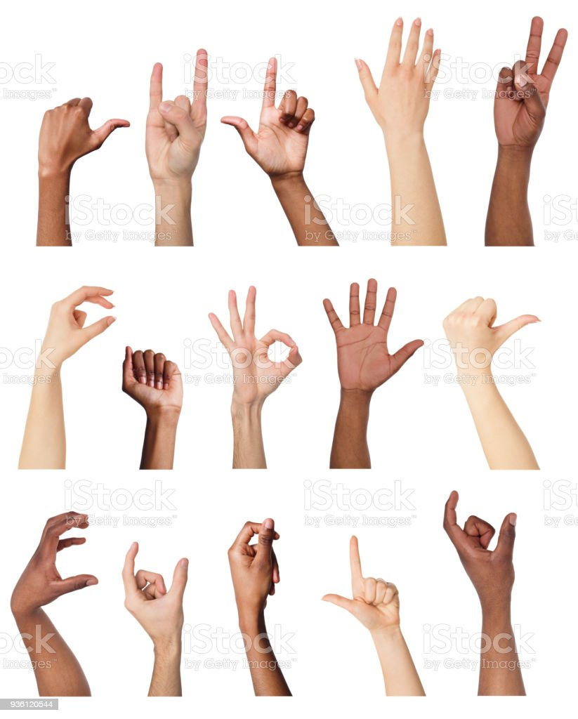 set of various hand gestures isolated on white stock photo more