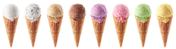 Set of various ice cream scoops in waffle cones Set of various ice cream scoops in waffle cones isolated on white background cone shape stock pictures, royalty-free photos & images