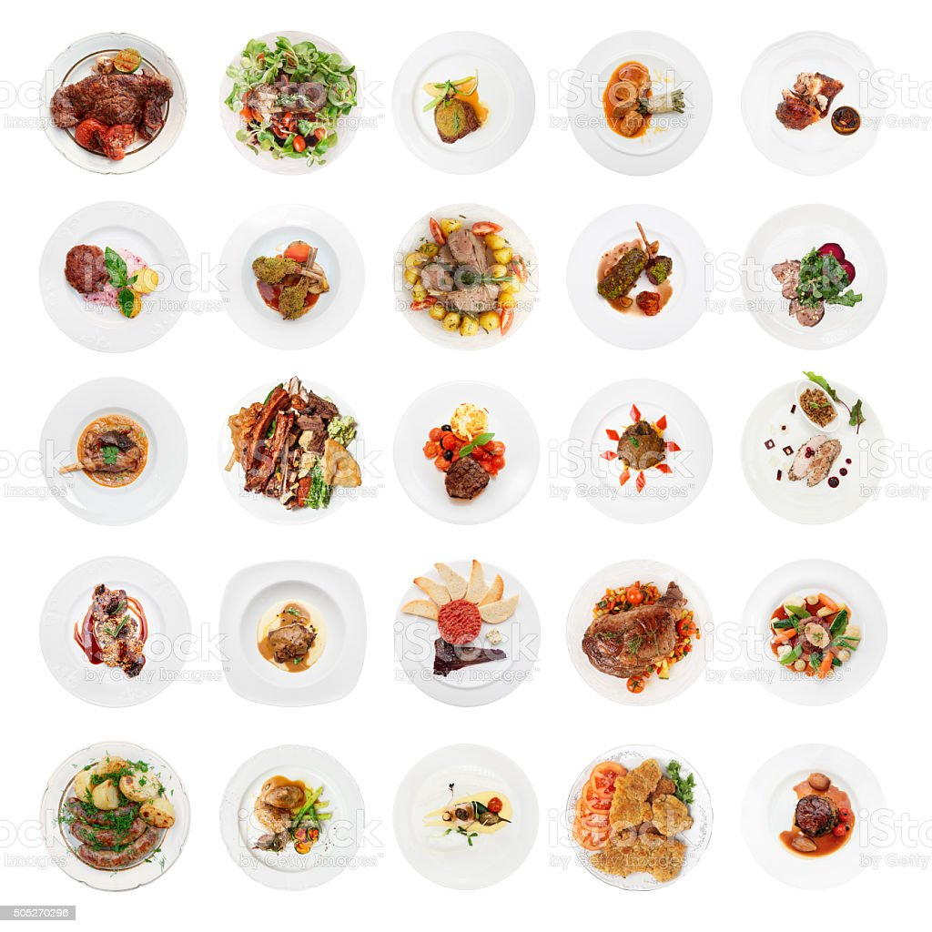 Set of various meat dishes shot from above, isolated stock photo
