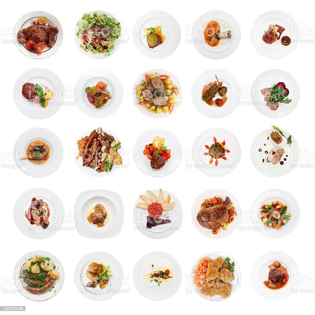 Satz von verschiedenen Fleischgerichten Aufnahme von oben, isoliert – Foto